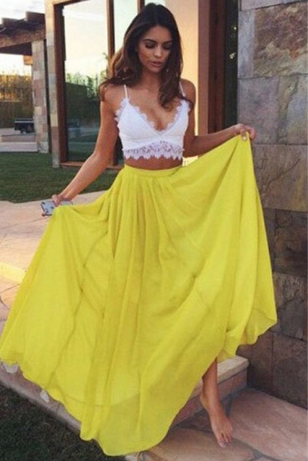 Charming Yellow Lace V-Neck Prom Dresses Two Pieces Spaghetti Strap Sexy Evening Dresses