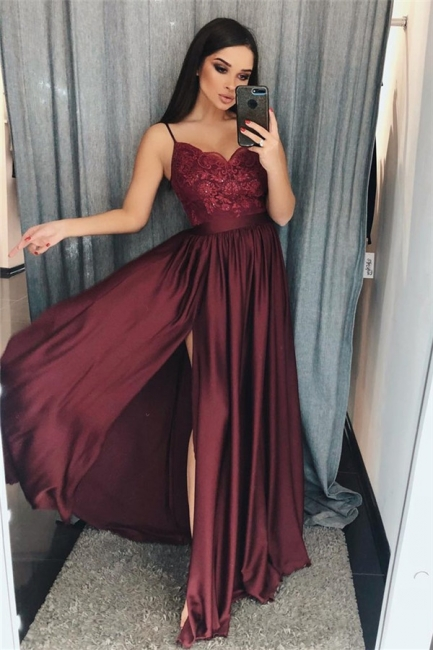 Lace Appliques Spaghetti-Strap Prom Dresses | Side slit Sleeveless Evening Dresses with Beads