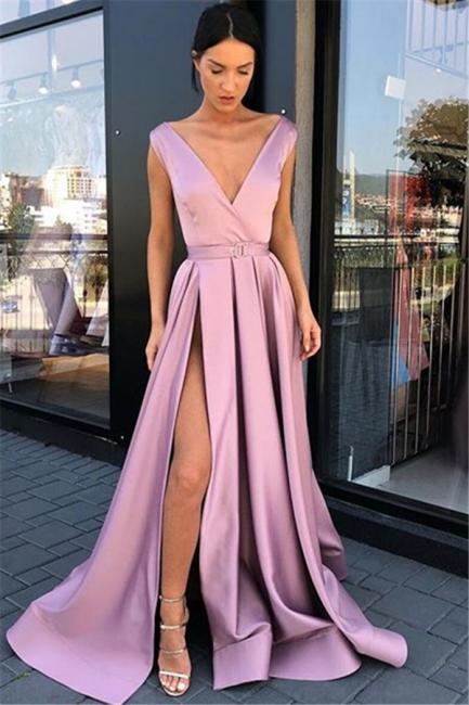 Pink Straps Deep-Sexy Low Cut Side-Slit Princess A-line Prom Dresses | Suzhou UK Online Shop
