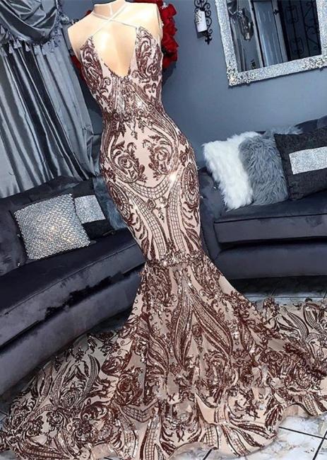 Sexy Low Cut Sequins Summer Sleeveless Trumpet Floor Length Prom Dresses | Suzhou UK Online Shop