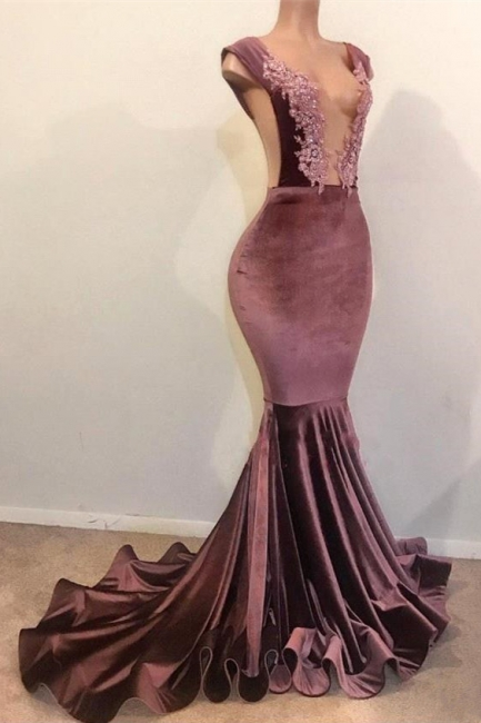 Trumpet Summer Sleeveless Floor Length Appliques Velvet Prom Dresses | Suzhou UK Online Shop