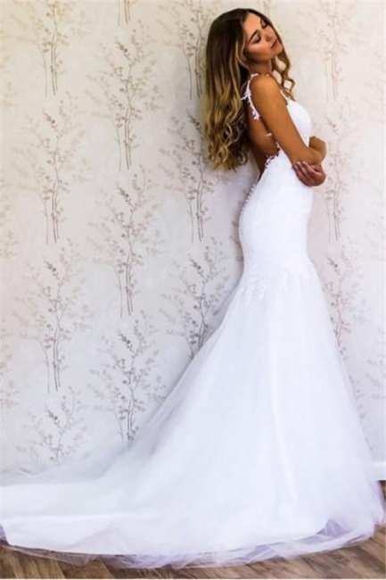 Sexy Appliques Straps Wedding Dresses | Backless Longsleeves Floral Bridal Gowns