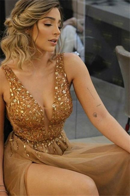 Glamorous Halter Ruffles Prom Dresses Sleeveless Side Slit Sexy Evening Dresses Cheap
