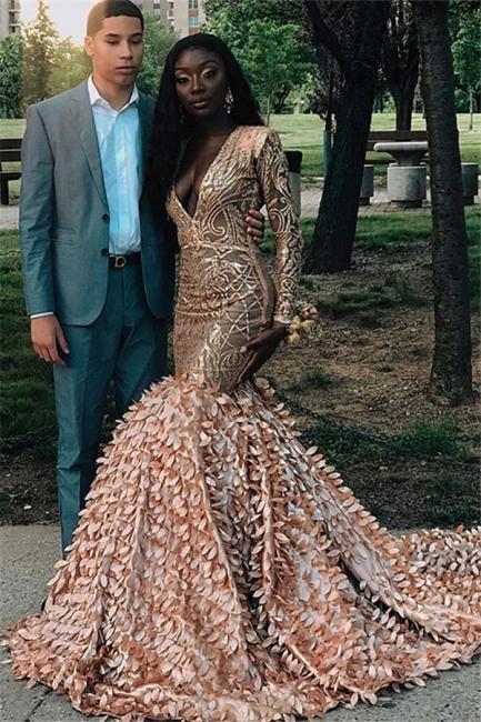 Amazing Sleeved Sexy Low Cut Applique Long Trumpet Prom Dresses   Suzhou UK Online Shop