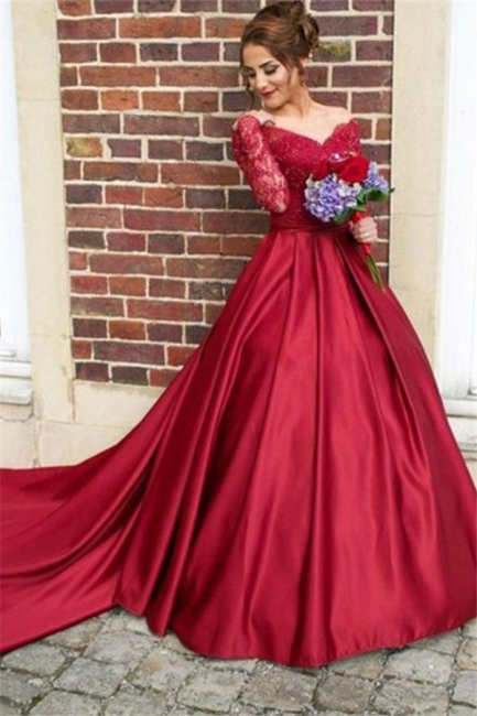 Red Lace Off-the-Shoulder Prom Dresses | Long Sleeves Ball Gown Evening Dresses