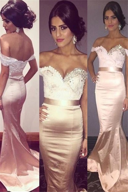 Glamorous Off-the-Shoulder Crystal Prom Dresses Lace Mermaid Sleeveless Sexy Evening Dresses with Belt