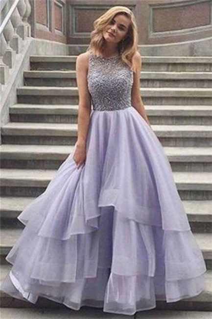 Glamorous Crystal Sheer Prom Dresses | Simple Cheap Sleeveless Evening Dresses