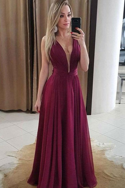 Glamorous Ruffles V-Neck Prom Dresses | Simple Popular Sleeveless Evening Dresses