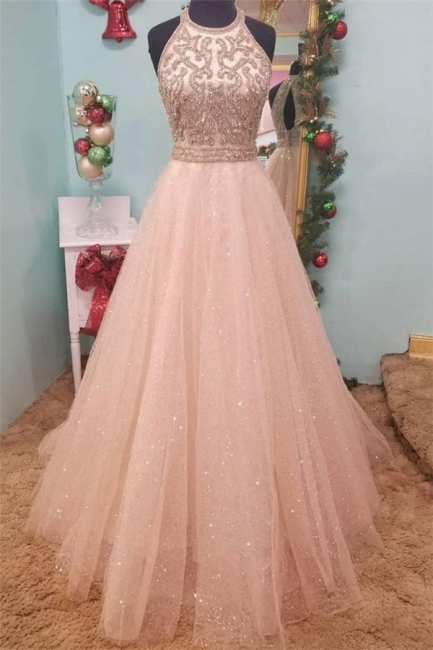 Glamorous Sequins Halter Lace Appliques Prom Dresses | Sheer Sleeveless Evening Dresses