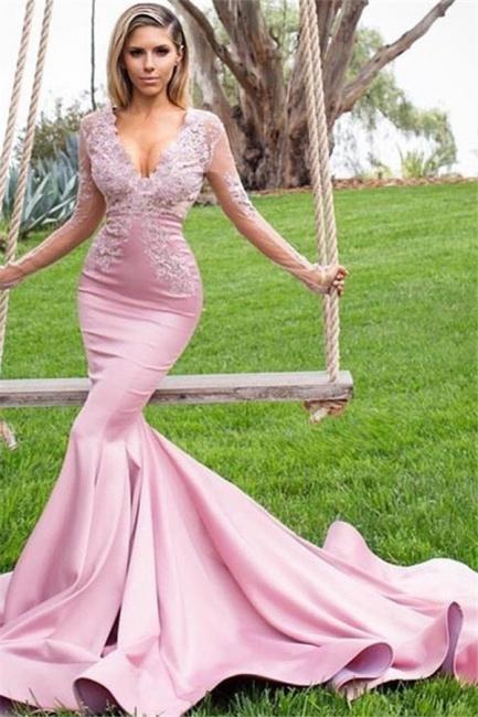 Glamorous Pink V-Neck Long Sleeves Prom Dresses Applique Mermaid Ruffles Sexy Evening Dresses