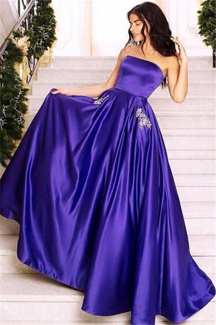 Glamour Purple Strapless Summer Sleeveless Long Princess A-line Prom Dress | Suzhou UK Online Shop