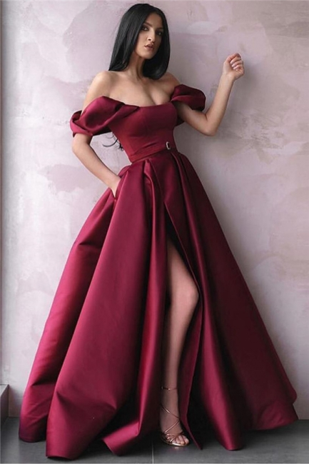Wine Red Off-The-Shoulder Side-Slit Princess Princess A-line Prom Dress | Suzhou UK Online Shop