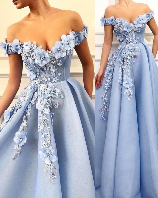 Elegant Off-The-Shoulder Flower Appliques Summer Sleeveless Princess A-line Prom Dress | Suzhou UK Online Shop