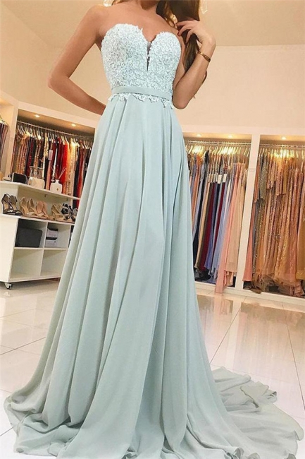 Glamorous Lace Appliques Sweetheart Prom Dresses   Ribbons Sleeveless Evening Dresses
