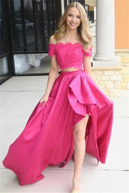 Glamorous Pink Beads Lace Appliques Off-the-Shoulder Prom Dresses   Side slit Sleeveless Evening Dresses