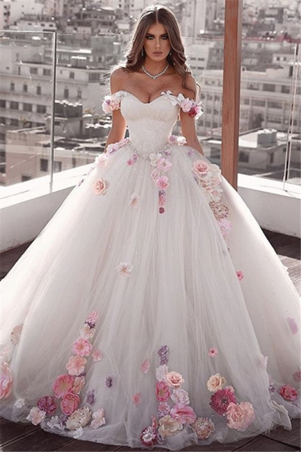 Gorgeous Flowers Wedding Dresses Off the Shoulder Bridal Gowns On Sale