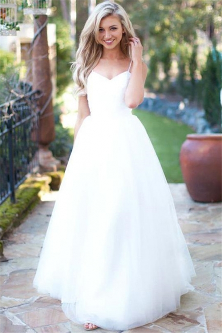 Glamorous Spaghetti-Strpas Tulle A-Line Wedding Dresses White Sweetheart Sleeveless Bridal Gowns Online