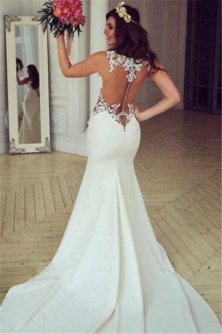 Sheer Back Lace Buttons Wedding Dress  Mermaid Sleeveless Sexy Bridal Gowns BA3691