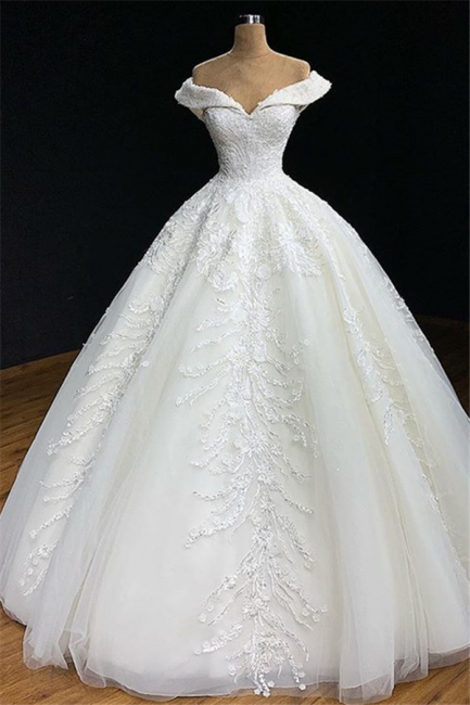 Off-The-Shoulder Ball-Gown Appliques Wedding Dress | Bridal Gowns Online