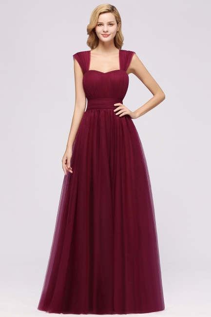 A-Line Chiffon Sweetheart Straps Sleeves Floor-Length Bridesmaid Dresses with Ruffles | Suzhoudress UK