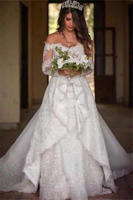 Beautiful Lace Off-the-Shoulder Long-Sleeve Princess Wedding Dress