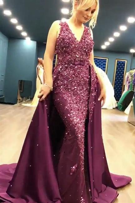 Sleeveless Full Beads Sequins Sexy Evening Dress | Luxury Overskirt Sheer Tulle Back Prom Dress