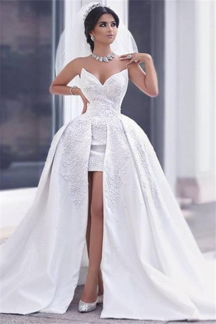 Puffy Gorgeous Strapless Lace Overskirt Appliques Ball Gown Wedding Dress