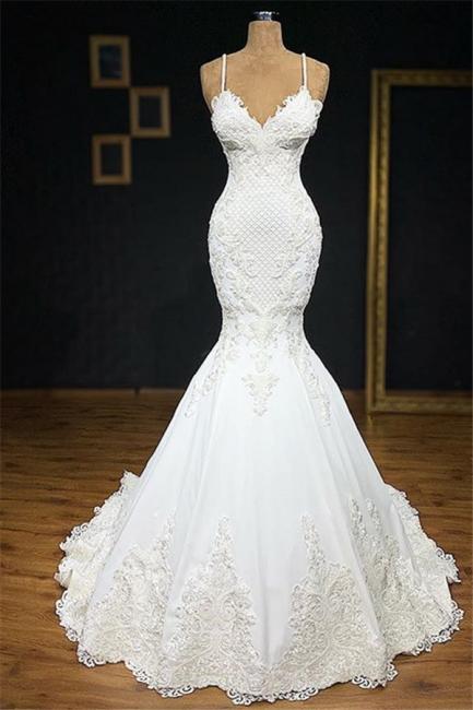 Vintage Spaghetti-Straps Applique Mermaid Wedding Dresses V-Neck Lace Sleeveless Bridal Gowns On Sale