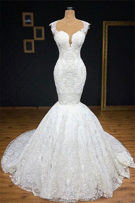 Stylish Straps Appliques Backless Mermaid Bridal Gown | Bridal Gowns Online