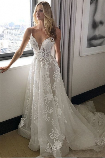 Elegant Spaghetti Straps Tulle Wedding Dresses  Lace-Applique A-line Bridal Gowns
