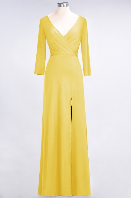 Cheap A-line Spandex V-Neck Long-Sleeves Side-Slit Floor-Length Bridesmaid Dress UK with Ruffles