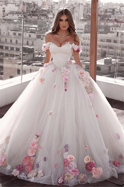 Stylish Off-The-Shoulder Ball-Gown Wedding Dresses with Flower | Bridal Gowns Online