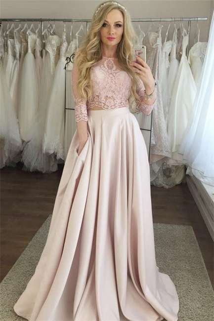 Elegant Lace Prom Longsleeves Dresses | A-Line  Evening Dresses with Pocket