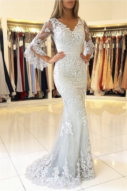 Gorgeous V-Neck Half Sleeves Lace Appliques Mermaid Evening Dresses