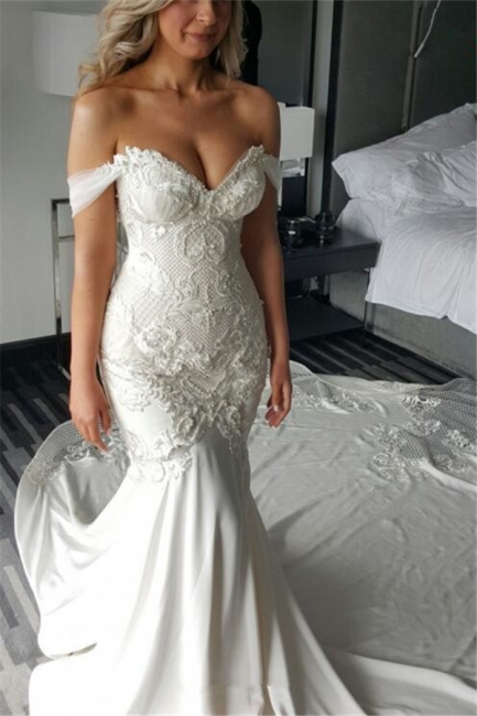 Delicate Lace-Appliques Mermaid Off-the-shoulder Train Wedding Dress