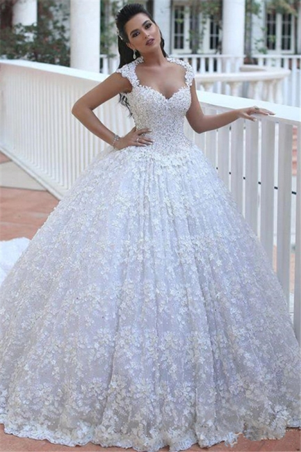 Crystal Lace Ball Gown Wedding Dresses Court Train Beading  Bridal Gowns MH068