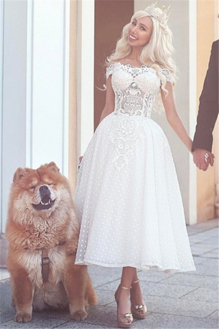 White Off-the-Shoulder Wedding Dress | Ball-Gown Ankle Length Bridal Gowns
