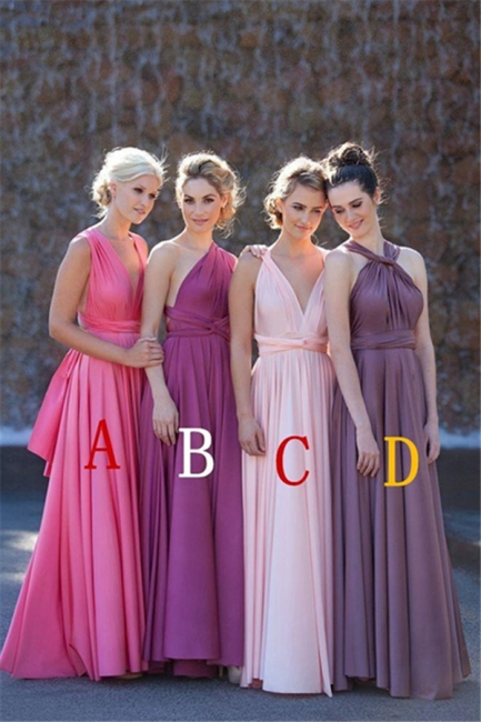 Bridesmaid Dresses  A Line Different Kinds Floor Length Sash Chiffon Summer Sleeveless Elegant Party Gowns