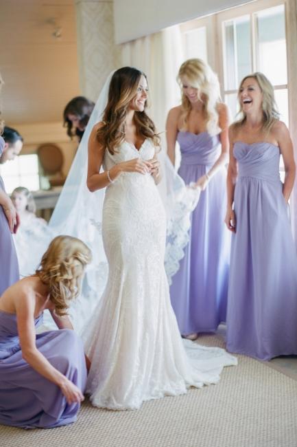 Empire Lavender Chiffon Long Bridesmaid Dress Ruffles  Floor Length Dresses for Wedding
