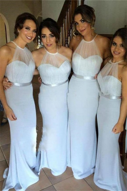 Simple Halter Long Wedding Party Dress Mermaid Floor Length Bridesmaid Dresses BO8381