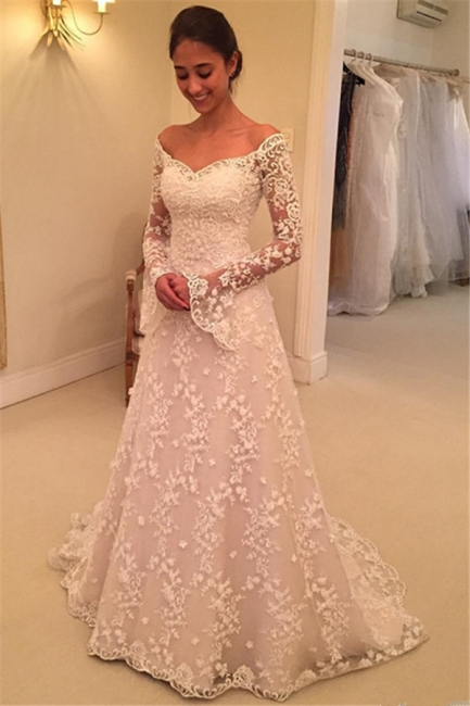 Off The Shoulder Lace Wedding Dresses with Sleeves | Bell Sleeve Elegant  Bride Dress
