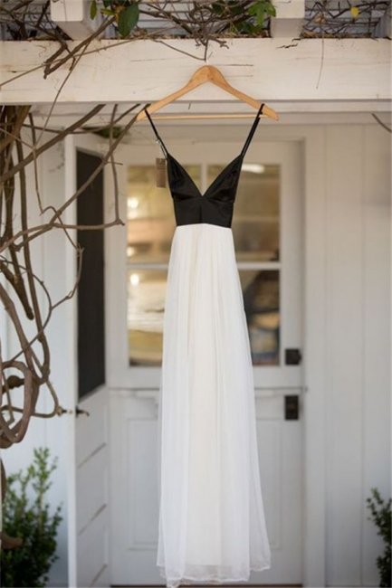 Black and White Deep V Neck Bridesmaid Dress  New Arrival Summer Party Gowns BA7240