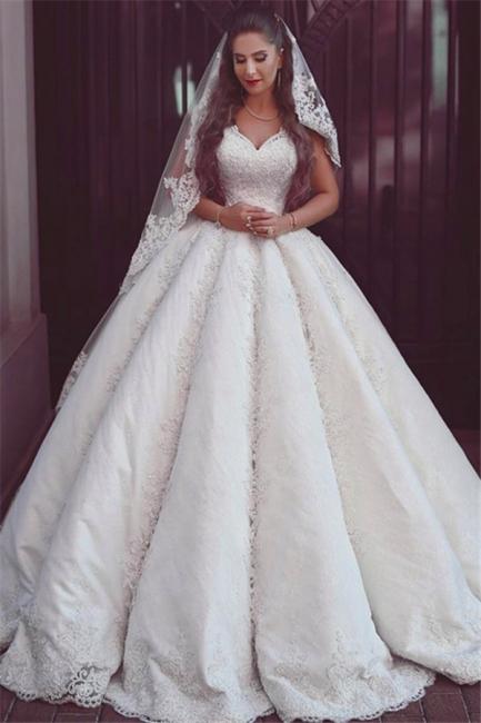 Elegant Lace Straps Wedding Dresses | Puffy Sleeveless Bridal Ball Gowns