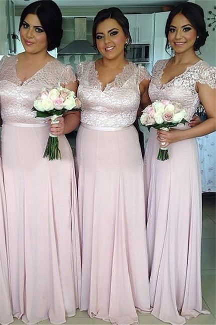 Pink Lace Chiffon Cap Sleeves V-neck  Bridesmaid Dresses  Long Wedding Party Dress