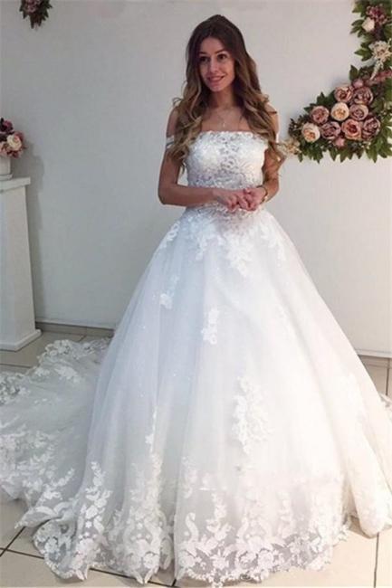 White Strapless Appliques Off The Shoulder Bride Dress  Lace A-Line Wedding Dresses