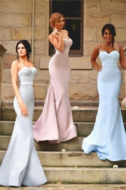 Zipper Sleeveless Spaghetti Strap  Dresses for Honor of Bride Elegant Mermaid Bridesmaid Dress