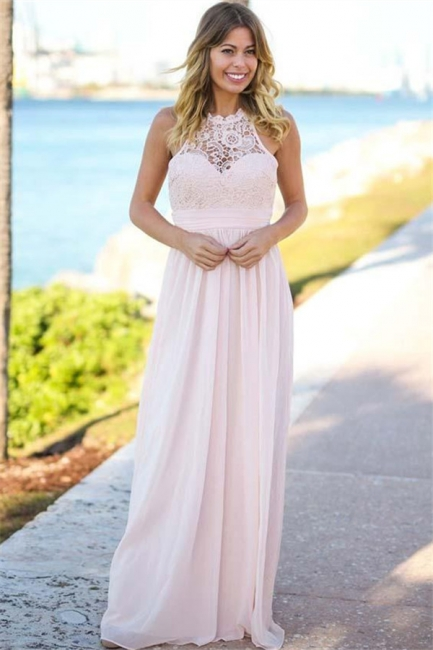 Open Back Pink Lace Chiffon Bridesmaid Dress | Sleeveless Sexy Dresses for Maid Of Honor