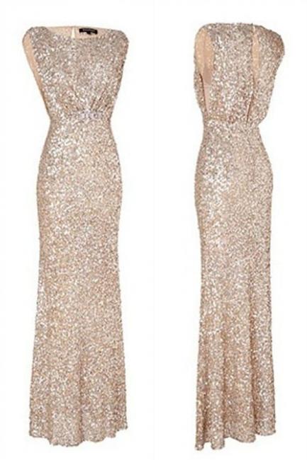 Simple Mermaid  Floor Length Bridesmaid Dresses Sequined Popular Plus Size Wedding Party Dresses