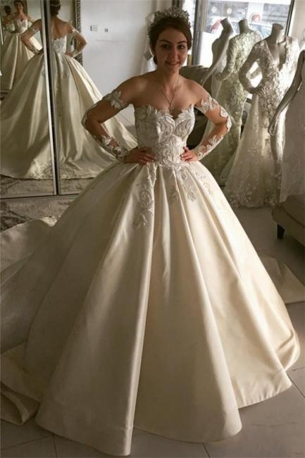 Elegant Long-Sleeve Wedding Dresses | Lace Ball Gown Bridal Dresses