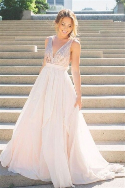 Deep V Neck Sequined Long Evening Dresses  Backless  Bridesmaid Dress with Bowknot CJ0437